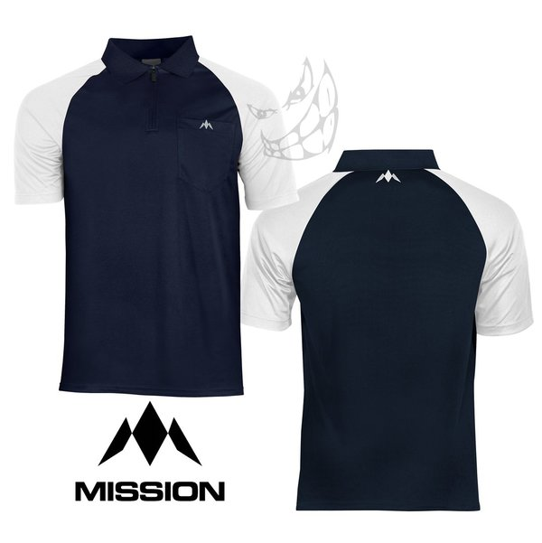 "Mission ""EXOS COOL"" Polo Shirts Navy Blue Sleeve Colour"